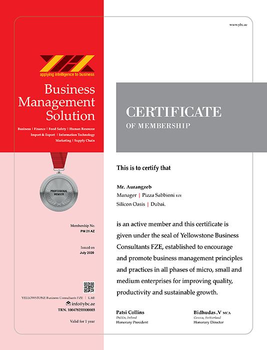 Professional Member Certificate